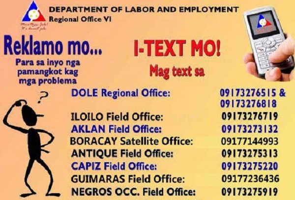 DOLE contact numbers to report complaints