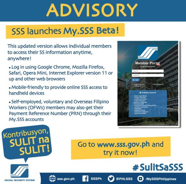sss advisory on My.SSS online facility