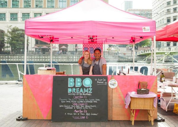 BBQ Dreamz owners Sinead Campbell and Lee Johnson inside their food stall