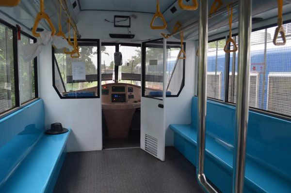 Inside the first coach of a train