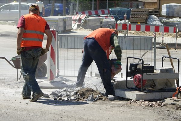 construction workers on the road