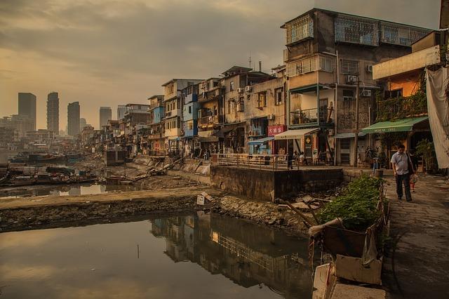 slums along a river