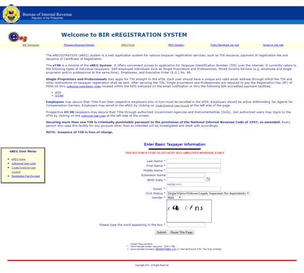 online TIN registration