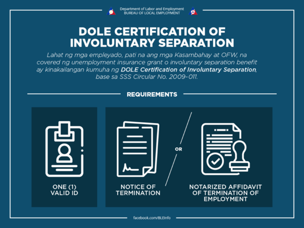 DOLE Certification of Involuntary Separation