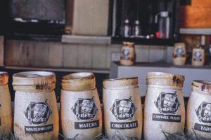 milk tea in bamboo cups